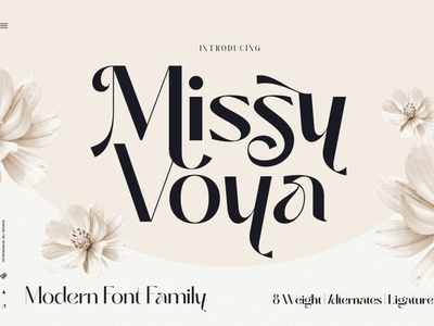 Missy Voya - Modern Font family lettering sans serif fonts display logo clothing art creative groovy retro packaging branding decorative casual elegant luxury vintage summer fashion