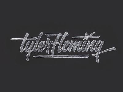 Tyler Fleming brush logo script hand lettering lettering name tflem fleming tyler