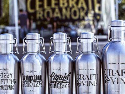C&V Growler Line Up engraved product growler beer typography custom hand lettering branding lettering