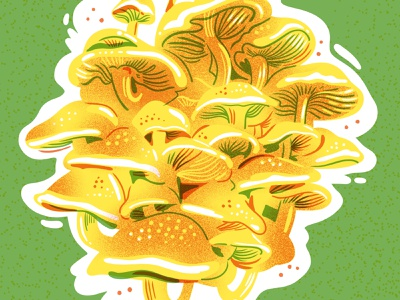 Shiitake Mushroom Risograph Print jordan kay texture yellow green pink bright food illustration illustration limited color palette limited color 3 color print risograph mushrooms shiitake