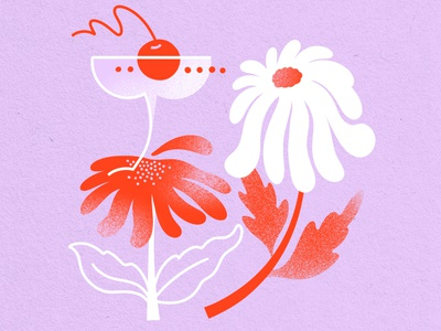 Manhattan Cocktail & Flowers graphic drink illustration food illustration jordan kay paper texture white red lavender limited color palette limited color coupe manhattan drawing flowers poppy daisy illustration cocktail
