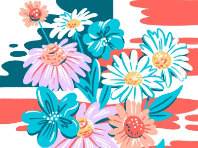 Flag and Wildflowers jordan kay bright pastel chalk usa sketch messy drawing flowers wildflowers vote illustration american flag