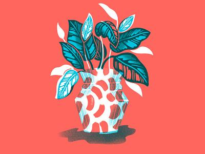 Plant in Vase texture paint brush strokes illustration plant illustration jordan kay leaves foliage plant vase houseplant