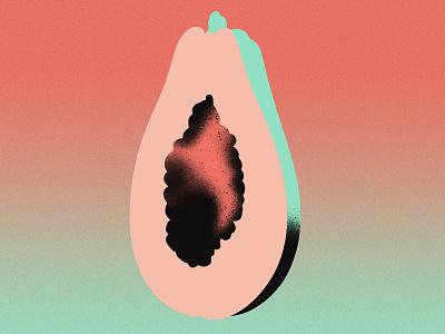 Papaya Spray msjordankay graphic gradient texture noise fruit black spray paint food illustration papaya jordan kay