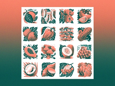 Fruit & Veg Poster yam citrus orange strawberries pepper papaya tile poster design cherries lettuce graphic food illustration mushrooms limited palette two color silkscreen poster