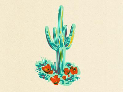 Saguaro Cactus earthy art illustration sketch overprint paper teal cacti arizona cactus illustration cactus saguaro