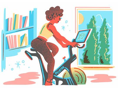 Home Gym Peloton bright illustration editorial editorial illustration florida gym exercise bike peloton home gym
