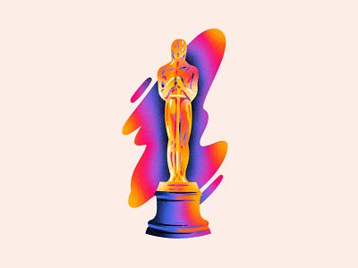 Washington Post - Oscars Illustration texture gradient award statue rainbow editorial illustration academy awards oscars illustration washington post