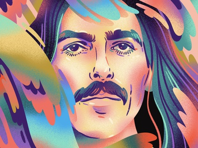 George Harrison graphic fan art drawing texture gradients illustration editorial portrait celebrity beatles george harrison