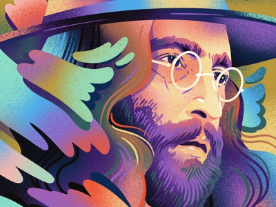 John Lennon fantasy fantastic magical rainbow purple portrait drawings shading noise texture gradient fanart beatles lennon john lennon drawing editorial illustration illustration
