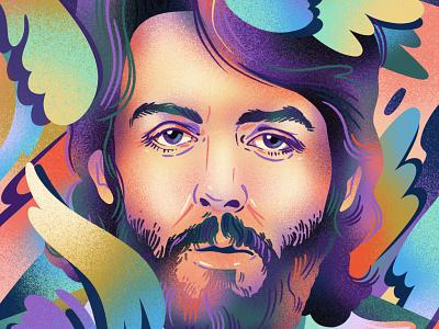Paul McCartney fan art 1960s 1970s portrait the beatles beatles paul mccartney airbrush drawing editorial gradient limited color texture jordan kay editorial illustration illustration
