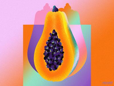 Papaya Gradients editorial summer noise texture gradients seeds spot illustration food illustration fruit illustration papaya fruit