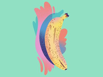 Banana on Mint foodie splash msjordankay fruit mint food food illustration fruit illustration banana drawing editorial illustration illustration jordan kay texture