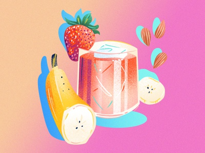 Strawberry Banana Almond Mocktail cocktail mocktail juice drink food noise gradient limited color drawing texture jordan kay editorial illustration editorial illustration food and drink beverage