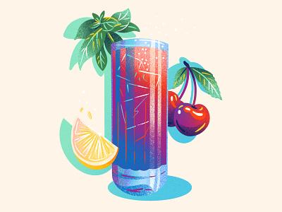 Cherry Lemon Basil Mocktail food beverage drink limited color editorial editorial illustration texture drawing jordan kay illustration