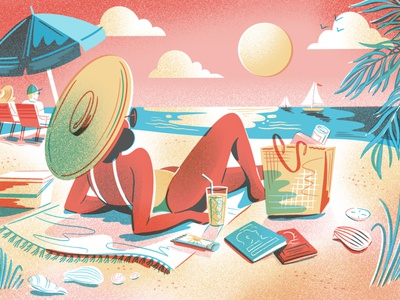 Beach Reading character sunshine art gradient noise drawing primary yellow blue red limited color sunset palm trees politico beach editorial editorial illustration texture illustration