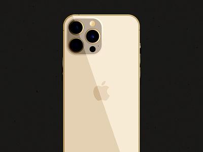iPhone 13 Pro gold phone computer apple branding vector logo illustration illustrator graphic design design