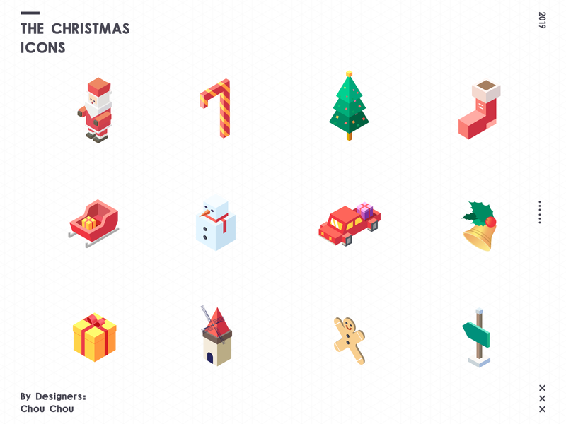 The Christmas Icons merry christmas colors the christmas tree santa clause 2.5d icons christmas