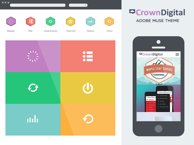 Crown Digital Adobe Muse Theme on Themeforest adobe muse muse themeforest themes website template website theme mobile view one page parallax landing page one page view long page