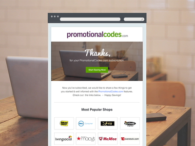 Thank You Email thank you email email newsletter newsletter email table design coupon newsletter deal newsletter promotionalcodes.com promo codes