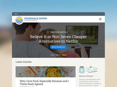 Boardwalk Savers Home Redesign boardwalk savers blog homepage landing page hierarchy web design