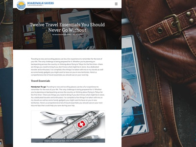 Cleaning and updating the article page. boardwalk savers blog article page landing page hierarchy web design big imagery tinted image contact form