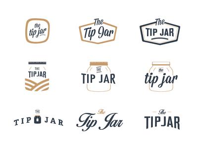 The Tip Jar Logo Concept logo branding brand id mark symbol jar mason jar tip jar typography