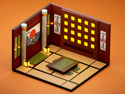 Japanese isometric art japanese art japanese room isometric design isometric design blender 3d art cycles low poly 3d blender 3d