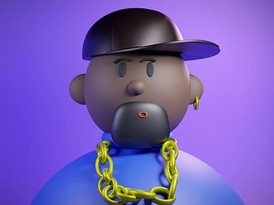 Thug life guy ux graphic design character logo art 3dart avatar design ui illustration blender 3d blender 3d