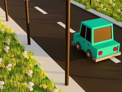 The Sunset Drive artwork art animation motion graphics graphic design design branding ui logo illustration blender3d cycles 3d blender blender 3d