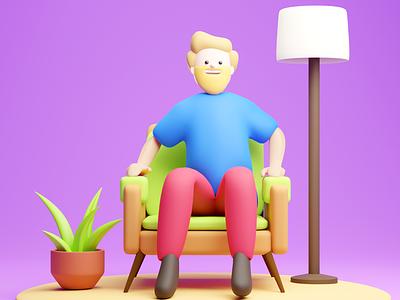 Man relaxing 3d art vector low poly artist stylized lowpoly character artwork art motion graphics graphic design animation branding ui logo illustration design blender3d 3d blender 3d