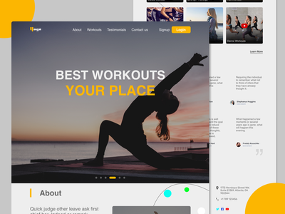 Yoga - Web Landing page Design design art xd illustration typography logo website yogasite yoga designs designer uidesign uiux ux ui landingpage webdesign design