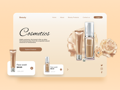 Cosmetics Landing Page cosmetic mockup product website fashion products products fashion brand dribble shot dribble website concept website design website facewash landing page design landing page landingpage shampoo fashion app fashion cosmetic cosmetics beauty