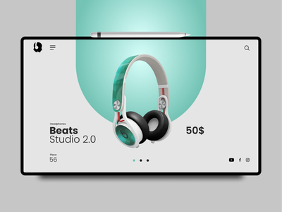 Headphones Website ipad uiux design bright color minimal 3d e-commerce online shopping headphones website ui modernism branding illustration fashion design dribble shot website design landingpage uiux trendy design uidesign ui