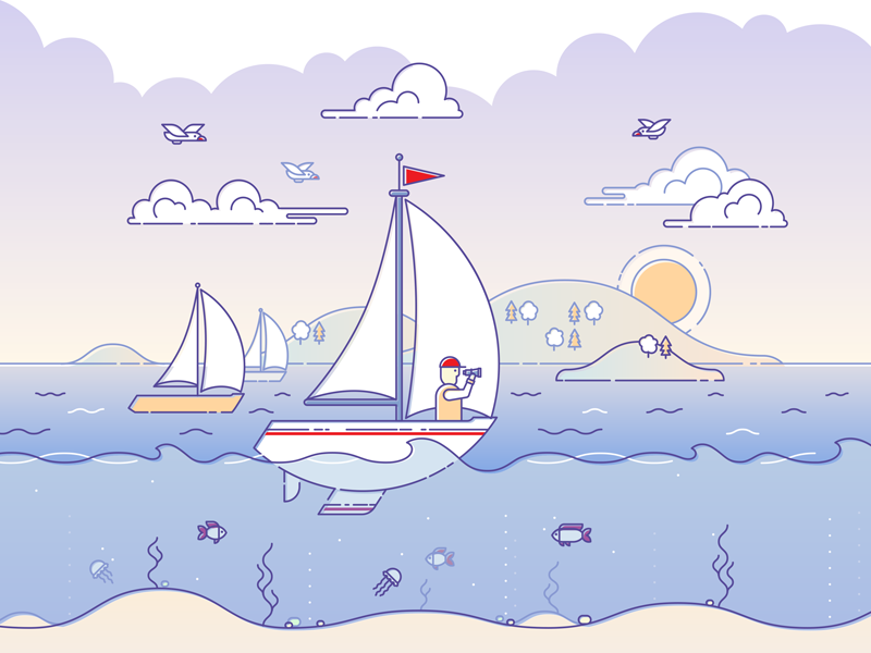 Sunset sailing illustration fish underwater clouds sunset coastline sea sailing sailor yacht illustration lineart outline