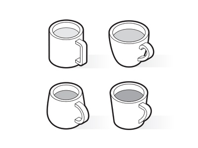 Isometric outline cups outline mug drink cup coffee 3d vector symbol isometric illustration icon
