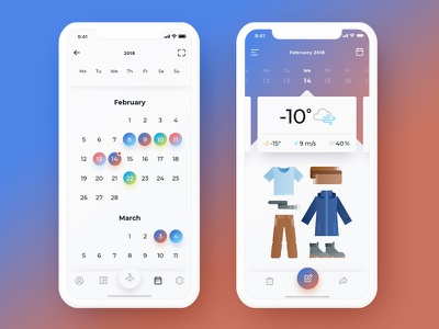 Calendar & daily wardrobe design ios icon mobile ui calendar bright assistant illusrtation wardrobe clothes app