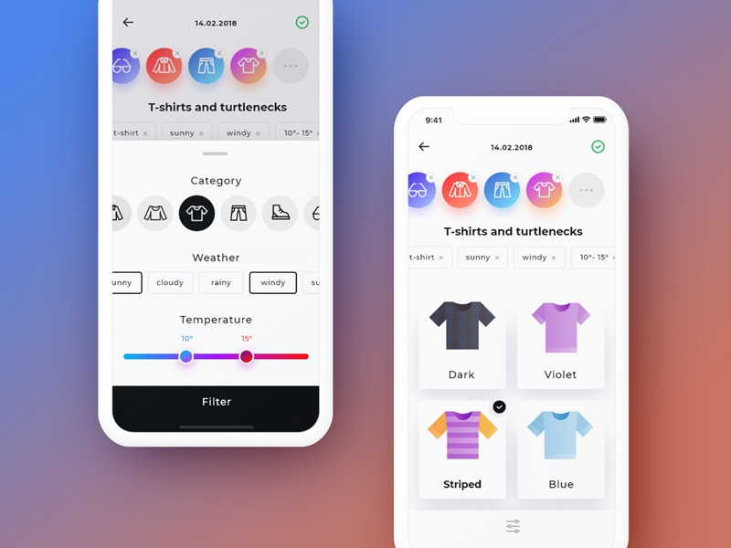 Daily kit construction with filters design t-shirt wardrobe ui mobile ios illusrtation icon clothes calendar assistant app