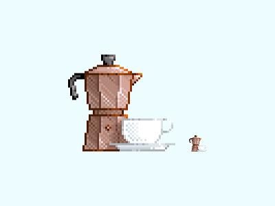 #09 Moka pot pixel art kettle pot moka coffee retro pixel art illustration icon drink design color 8bit