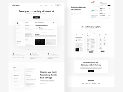 Afternotes - Collaboration Platform Landing Page calendar sharing documents docs notes tasks monochrome black and white minimalist web collaboration organizer landing page website ui design ux