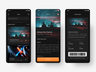 Event Booking App Concept mobile app design clean festival concert event dark mode ui design mobile minimalist app ui
