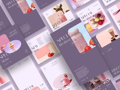 Soft Touch Instagram Posts & Stories promotions instagram post blogger blog food blogger food blog food purple touch soft touch neon design branding social media template social media template instagram posts instagram stories instagram template instagram