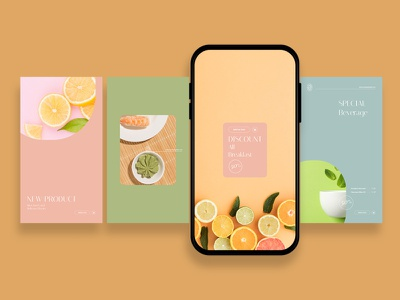 Refreshing Beverage Instagram Posts & Stories instagram instagram tempalte intagram stories instagram posts template social media social media template branding design instagram post instagram banner social media pack posts stories story instagram story template post modern blog blogger