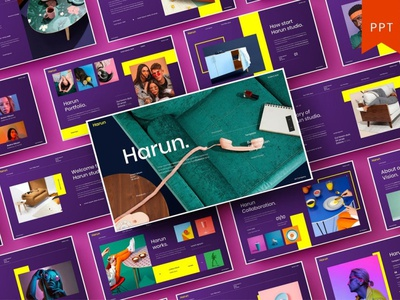Harun - Multipurpose Template template presentation powerpoint multipurpose template multipurpose keynote google slides web development web design website modern clean unique corporate company portfolio photography studio pitch deck colorful