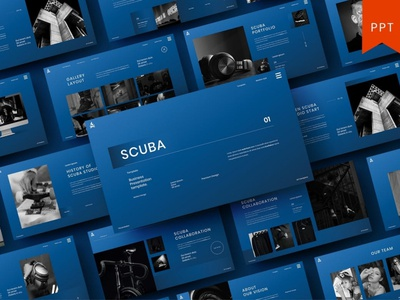 Scuba - Multipurpose Template template presentation powerpoint multipurpose template multipurpose keynote google slides web development web design website modern clean unique corporate company portfolio photography studio pitch deck colorful