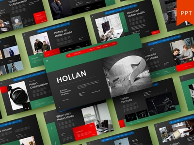 Hollan Multipurpose Template template presentation powerpoint multipurpose template multipurpose keynote google slides web development web design website modern clean unique corporate company portfolio photography studio pitch deck colorful