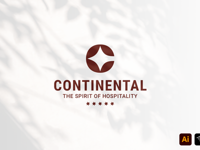 Continental business name brand professional five stars hotel continental craft work logo tamplate tamplate vector branding graphic design illustration custom design headfonts logo