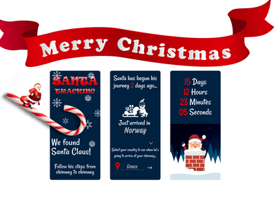 Santa Claus is coming to town downtime design ui christmas spirit santa tracker tracking app app children gifts love christmas