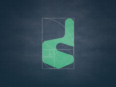 """Finger icon and """"d"""" letter according to golden ratio"""