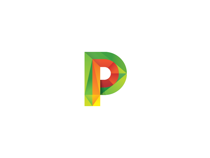 P p letter icon logo color gradient bold unique tie tieatie